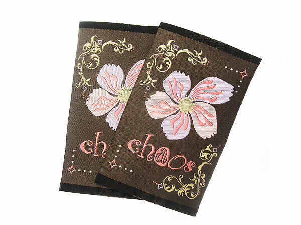 "Damask Woven Labels with Floral Print and ""Chaos"" Statement"
